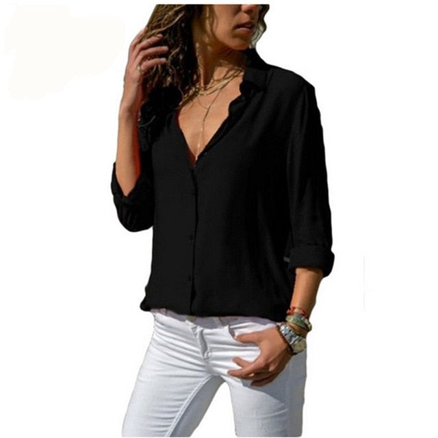 Lossky Women Tops Blouses 2018 Autumn Elegant Long Sleeve Solid V-Neck Chiffon Blouse Female Work Wear Shirts Blouse Plus Size-geekbuyig