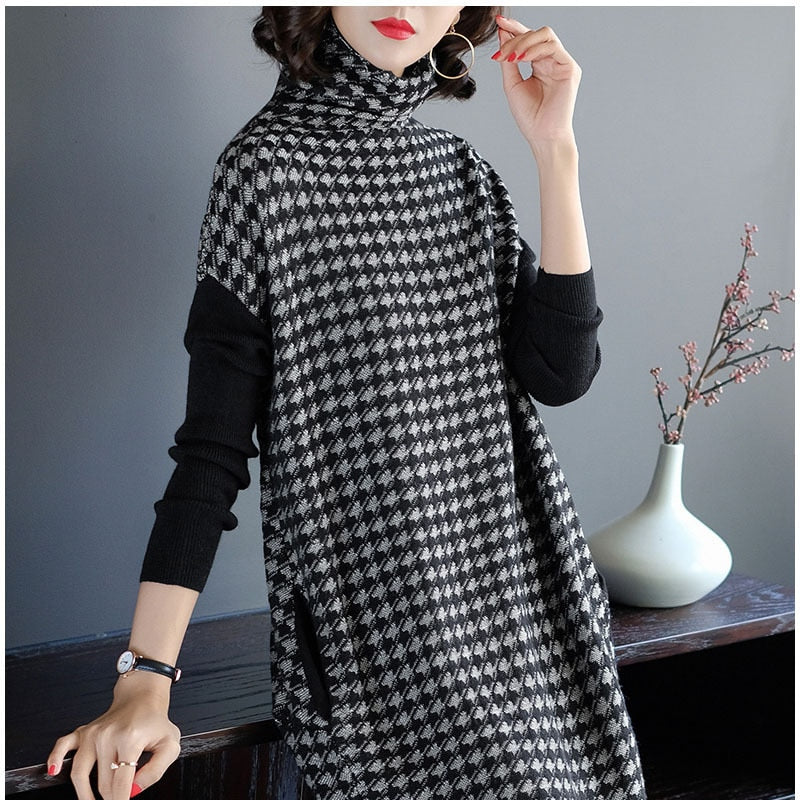 Plus Size Women Black Houndstooth Knitting Stretch Sweater Dress 2018 Winter Female Dresses Vestido Clothing Robes-geekbuyig