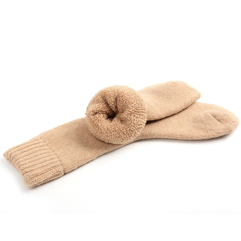 Mens Wool Cashmere Socks Heavy Thick Winter Warm Sock Solid Comfortable High Quality Casual Male Soft Crew Thermal Socks-geekbuyig
