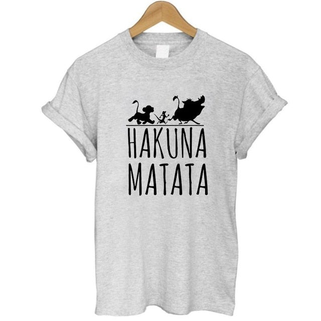 2017 Hakuna Matata letter print Tee shirt Homme Summer Women Short Sleeve t shirt Plus Size women casual 100% Cotton top-geekbuyig