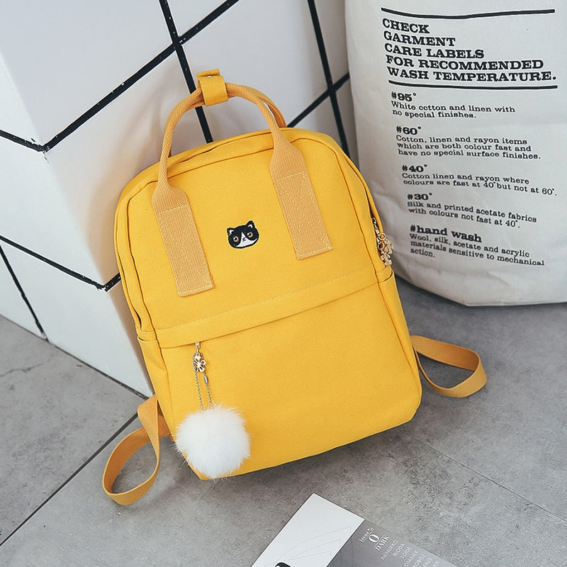 Fashion Women Backpack for School Teenagers Girls Stylish School Bag Ladies Canvas Fabric Backpack Female Bookbag Mochila-geekbuyig