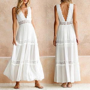 Deep V Elegant White Lace Sexy Dress Women Backless Hollow Out Summer Long Maxi Dresses Female Clothing S M L XL-geekbuyig
