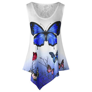 New Summer Women Tunic Tops Casual Sleeveless Blouses Irregular Butterfly Printed Lace Shirt Loose Plus Size Camisa Feminina-geekbuyig