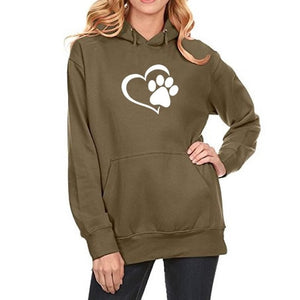 2018 New Fashion Dog Paw Print Kawaii Sweatshirt Femmes Hoodies Women Sweatshirts Harajuku Cute Corduroy Plus Size Buckle-geekbuyig