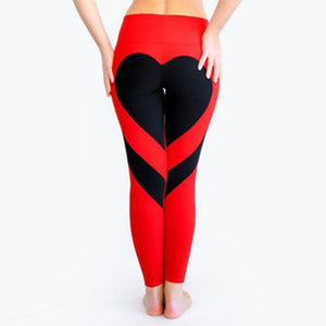 2018 Hayouha New Ass Love Stitching Leggings Put Hip Elastic Waist Leggins High Waist Stitching Large Size Pants-geekbuyig