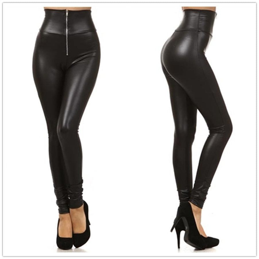 New Faux Leather Leggings Sexy Fashion High-waist Stretch Material Women Leggings Women Skinny Pants Zipper Jeggings LG001-geekbuyig