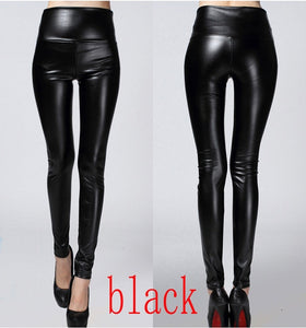 2018 thin spring autumn shiny PU Leather women pants large stretch high waist Slim woman pencil pants-geekbuyig