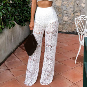 SIBYBO High Waist Loose Sexy Lace Pants Women Fashion Hollow Out Lace Crochet Long Women Trousers Black Beach Casual Women Pants-geekbuyig