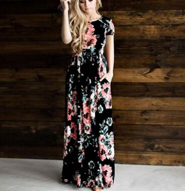 New 2018 Summer Long Dress Floral Print Boho Beach Tunic Maxi Women Evening Party Autumn Dress Sundress Vestidos de festa XXXL-geekbuyig