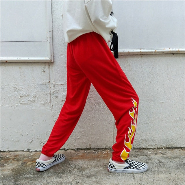 Harajuku Flame Print Pants Women Elastic Waist Straight Casual Hipster Trousers Pant For Men Women-geekbuyig