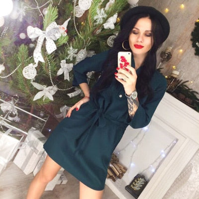 2018 spring new women's fashion three buckle belt dresses casual office collar seven points sleeve mini dresses vestidos-geekbuyig