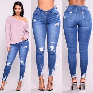 3xl Plus Size Light Blue Skinny Ripped Jeans For Female Women Mid Waist Bleash Wash Casual Denim Jeans 2018 Slim Fit Pants Femme-geekbuyig