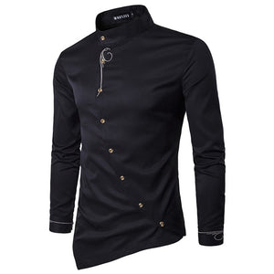 ZYFG FREE 2018 Men's Fashion Cotton shirts Long Sleeved Shirt Solid Color Slim embroidery Shirts Men Casual Irregular Man Dress-geekbuyig