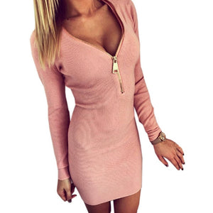 New Autumn Dress Knitting 2018 Women Dresses Zipper V-neck Sexy Knitted Dress Long Sleeve Bodycon Sheath Pack Hip Dress Winter-geekbuyig