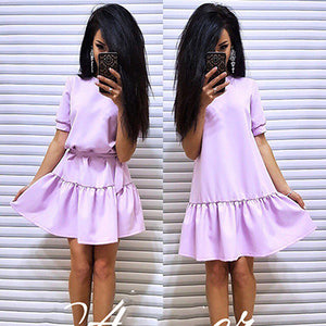 2018 New Fashion Women Autumn Vintage belt Loose Dress Casual O-Neck Short Sleeve Wine Wine red Dresses Elegant Ruffled dress-geekbuyig