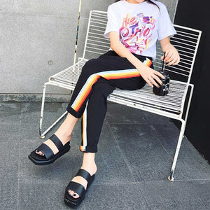 Womens Casual Pants Loose Drawstring Rainbow Striped Trousers Students Harem Pants Sweatpants S4-geekbuyig