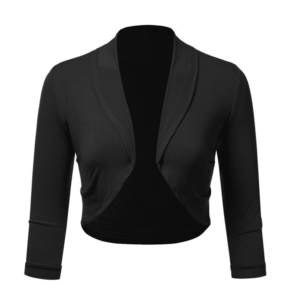 FeiTong Female Short Shrug Women Long Sleeve Bolero Femme Wedding Ladies Crop Top Cardigan Black Red White Casual Clothing 2018-geekbuyig