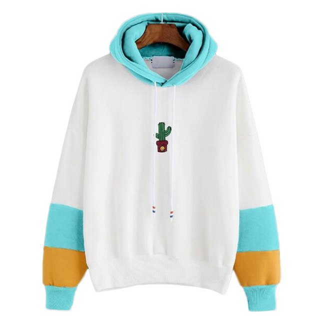 LASPERAL Female Long Sleeve Hoodies Sweatshirts Harajuku Cactus Printed Oversized Hoodie Feminina Women Casual Clothing 2018-geekbuyig
