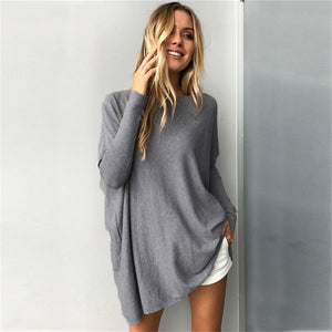 Pullover Women 2018 Harajuku Autumn Solid Long Pullover Sweater Casual Loose Long Sleeve Knitted Sweater Ladies Jumpers Sweaters-geekbuyig
