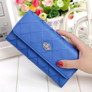 Womens Wallets and Purses Plaid PU Leather Long Wallet Hasp Phone Bag Money Coin Pocket Card Holder Female Wallets Purse-geekbuyig