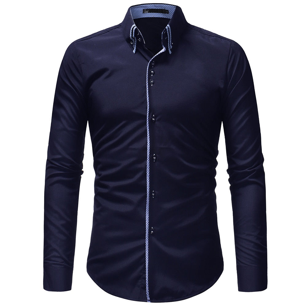 Men Shirt 2018 Autumn Male High Quality Long Sleeve Shirts Casual Slim Fit Black Man Dress Shirts Plus Size XXXL-geekbuyig