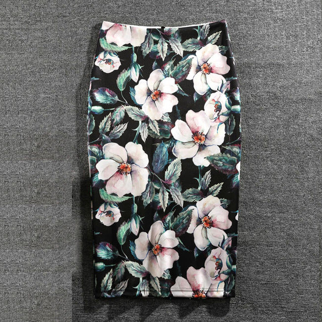 Women Skirts Print Flowers Fashion Pencil Skirt Casual Skirts Plus Size Faldas Mujer Jupe Femme-geekbuyig