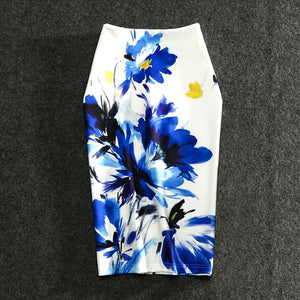Women Skirts Casual Print Flowers Pencil Skirt Stretchy Skirts Plus Size 22Colors Faldas Mujer-geekbuyig