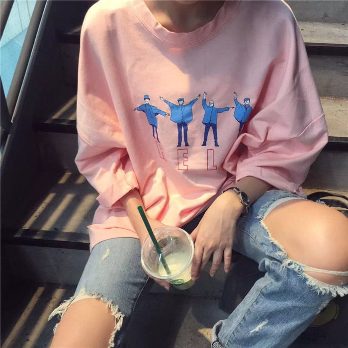 2016 Korean Style Halajuku Letter Printed Casual Loose Female Tee-geekbuyig