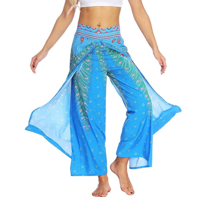 Boho Mandala National Style Printed Pants Women Tiered Split Straight Belly Hippie Thai Long Pants Holiday Casual Loose Trousers-geekbuyig