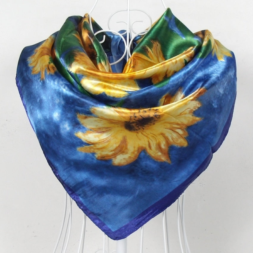 2015 Square Polyester Silk Scarf New Sunflower Pattern 90*90cm Ladies' Satin Sqaure Scarves Printed New Style Women Headscarf-geekbuyig