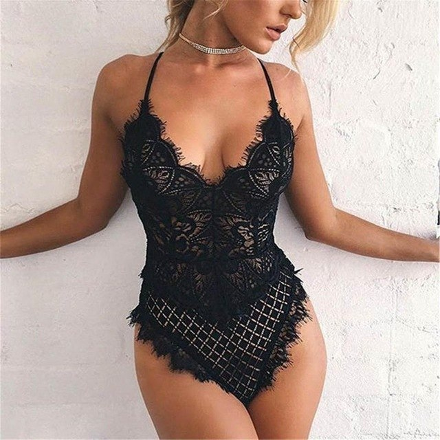 Sexy Lace Bodysuit for Women Bodycon Jumpsuit Summer Cut Out Rompers Club Wear Jumpsuit Body Overalls female Playsuit Bodysuits-geekbuyig