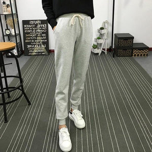 Spring and Autumn Hot New High Waist Loose Pants Female Feet Trousers Large Size Thin Pants Casual Sportswear Pants-geekbuyig