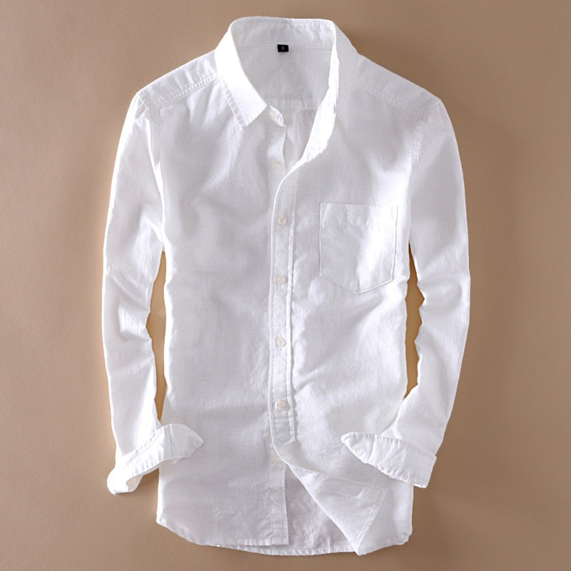 Elegant Mens Long Sleeve White Linen Shirt Slim Fit Turn-down Collar Soft Loose Thin Clothes Classic Hemp Shirts Beach Clothing-geekbuyig