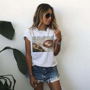 Michelangelo Sistina Tshirt Plus Size Korean Style Short Sleeve Clothes Tee Shirt Femme Ulzzang Aesthetic Art T-shirts Women-geekbuyig