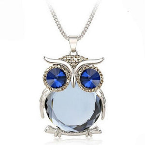 Crystal Owl Pendant Necklace Design Rhinestones For Women Sweater Long Chain Animal Necklaces Jewelry Clothing Accessories-geekbuyig