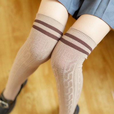 LASPERAL Sexy 2018 Warm Long Stocking Fashion Striped Knee Socks Women Cotton Thigh High Over The Knee Stockings For Ladies-geekbuyig