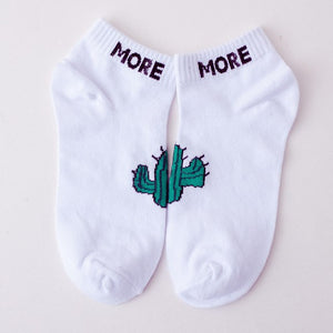 Woman&Men Ankle Socks Harajuku Korea Japanese Cotton Cactus Gun Shark No Show Socks Slipper Summer Newly-geekbuyig