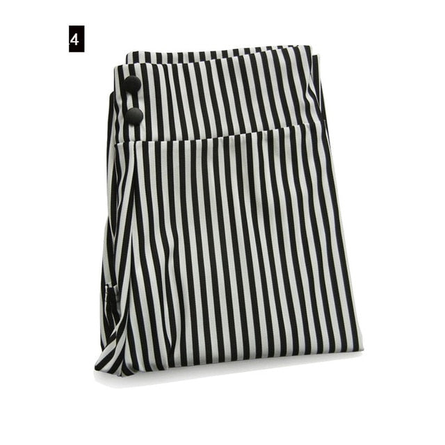 MOBTRS Striped Elastic High Waist Pants Female Button Decoration Slim Long Trousers Women's Fashion Stretch Pants Thin Section-geekbuyig