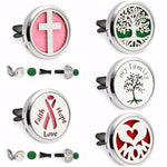 Tree of Life Cross Mom Heart Ribbon Magnet 30mm Car Diffuser Locket Removable Vent Clip Aromatherapy Perfume Locket 10pcs Pads-geekbuyig