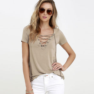 Summer Fashion Women T-shirts Short Sleeve Sexy Deep V Neck Bandage Shirts Women Lace Up Tops Tees T Shirt plus size-geekbuyig