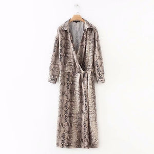 2018 women vintage sexy snake skin printing long dress female long sleeve v neck vestidos casual slim brand party dresses DS1171-geekbuyig
