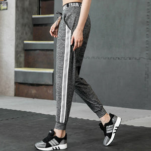Smotop Women Loose Casual Long Pants Elastic Waist Pocket Patchwork White Striped Streetwear Hollow Pencil Pants Jogger Bottom-geekbuyig