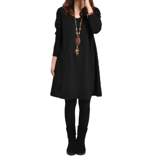 2018 Autumn Dress Women Winter Long Sleeve Pocket Dress Solid O Neck Casual Loose Party Dresses Fashion Vestidos Plus Size S-5XL-geekbuyig