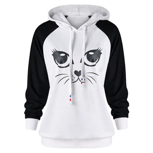 Kawaii Cat Printed Hoodie Women's Long Sleeve Sweatshirt Harajuku Cat Ears Jumper Sudadera Mujer 2018 #L-geekbuyig