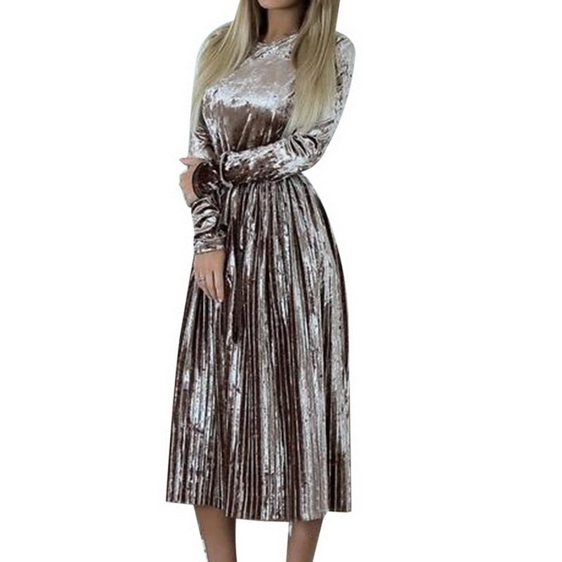 CALOFE Spring Summer Women Long Dresses Maxi New High Waist Solid Pleated Dress Female Vintage Elegant Lady Tunic Vestidos-geekbuyig