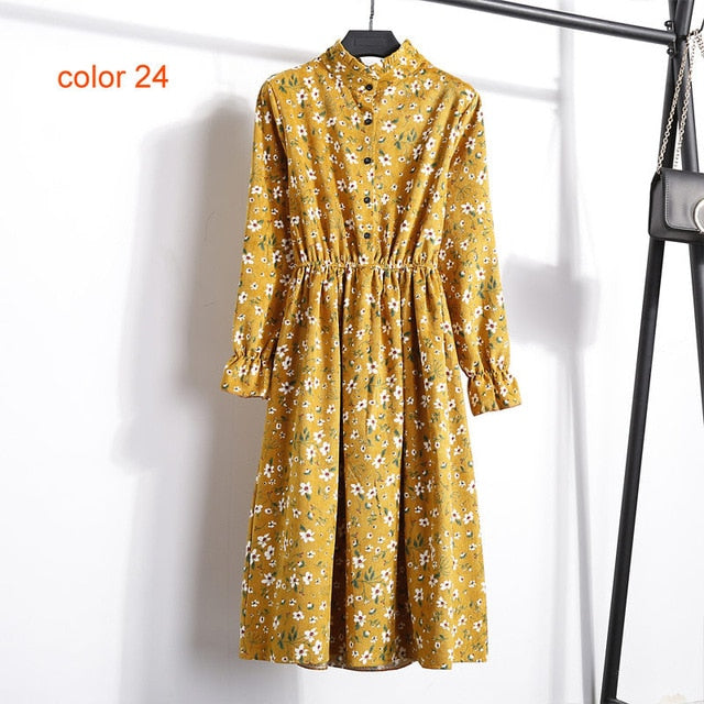 Corduroy Soft Floral Print Women Autumn Winter Dress Stand Collar Female Party Loose Dresses Elastic Waist Beach Vestidos-geekbuyig