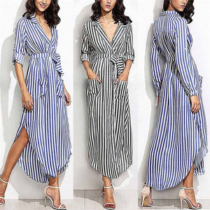 Striped Shirt Dress Women Casual Long Sleeve Office Ladies High Waist Turn-Down Collar Long Dresses For Female vestir robe #SW-geekbuyig
