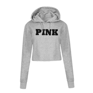 WEIXINBUY Fashion PINK Printing Hoodies Jumper Crop Top Coat Crew Neck Sweatshirts Women Clothing Loose Short 2018-geekbuyig