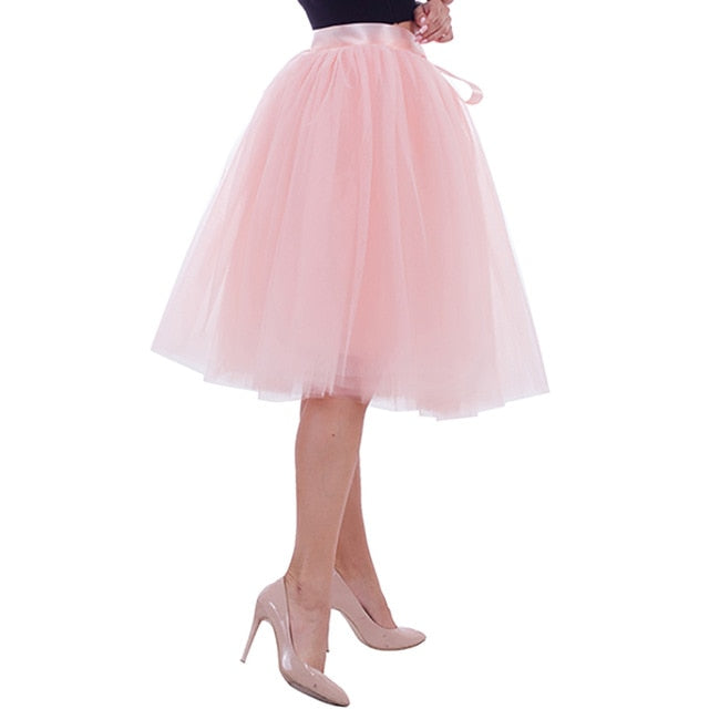 5 Layers Midi A Line Tutu Tulle Skirt High Waist Pleated Skater Skirts Womens Vintage Lolita Ball Gown Summer 2018 saias jupe-geekbuyig
