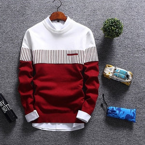 Sweater Men 2018 New Brand Fashion Pullover Sweater Male Round Neck Patchwork Slim Fit Knitting Mens Sweaters Pullover Men XXL-geekbuyig